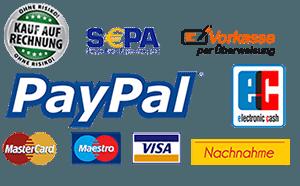Bezahlen auf Rechnung, Kreditkarte, Paypal, Nachnahme